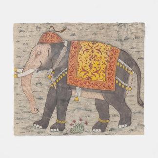 ヴィンテージは飾りました象の絵画(17世紀)を フリースブランケット