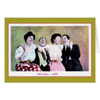 ヴィンテージは2つのパーティを楽しむカップル、微笑するために心配しません カード