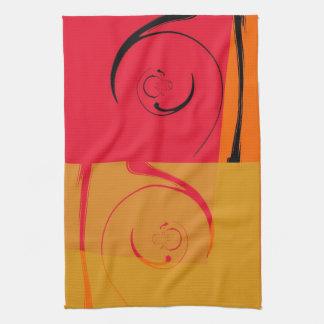 ヴィンテージは、オレンジ、黄色、黒のレトロのアール・デコ飾ります キッチンタオル