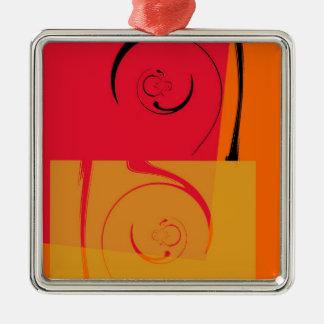 ヴィンテージは、オレンジ、黄色、黒のレトロのアール・デコ飾ります メタルオーナメント
