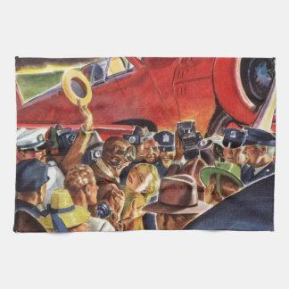ヴィンテージは、報道写真家が付いている女性そして飛行機操縦します キッチンタオル