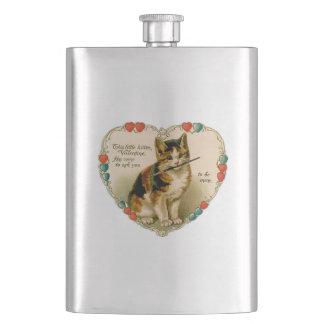 """ヴィンテージは""""私の物""""子ネコのハートのバレンタイン-フラスコ2です フラスク"""