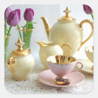 ヴィンテージは、金ゴールドおよび正式のパーティーまたはコーヒーステッカー黄色になります スクエアシール