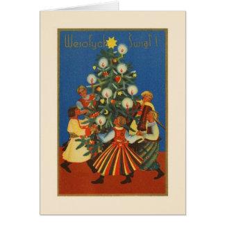 ヴィンテージはWesołych Świątのクリスマスカードを磨きます グリーティングカード