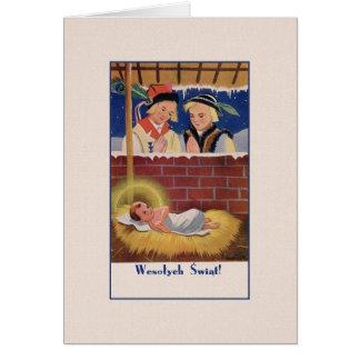 ヴィンテージはWesołyeh Świątのクリスマスカードを磨きます グリーティングカード
