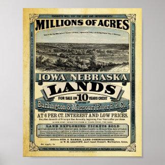 ヴィンテージアイオワおよびネブラスカの土地の販売のプリント ポスター