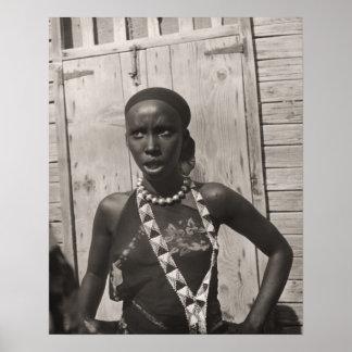 ヴィンテージアフリカのアフリカの女の子 ポスター