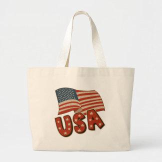 ヴィンテージアメリカの旗 ラージトートバッグ