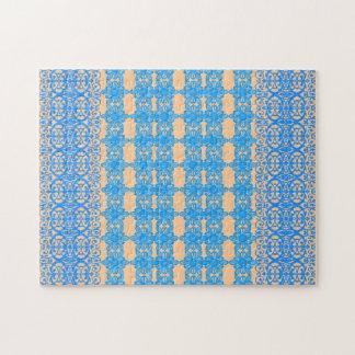 ヴィンテージアールヌーボーおよびラベンダーの青の花柄 ジグソーパズル