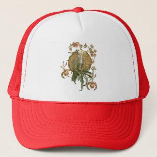 ヴィンテージアールヌーボーのオウムの鳥、蘭の花 キャップ