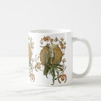 ヴィンテージアールヌーボーのオウムの鳥、蘭の花 コーヒーマグカップ