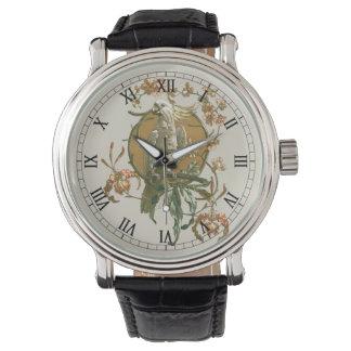ヴィンテージアールヌーボーのオウムの鳥、蘭の花 腕時計