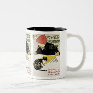 ヴィンテージアールヌーボーのペット猫との芸術家の絵画 ツートーンマグカップ