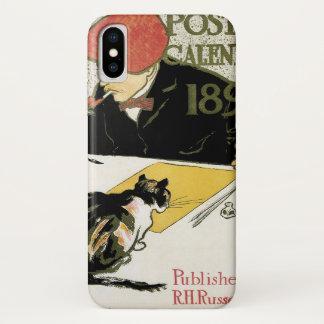 ヴィンテージアールヌーボーのペット猫との芸術家の絵画 iPhone X ケース