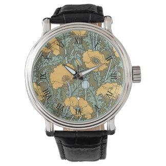 ヴィンテージアールヌーボーの庭のケシの花 腕時計