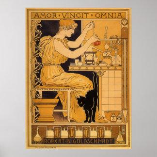 ヴィンテージアールヌーボーの愛はすべての科学者を征服します ポスター