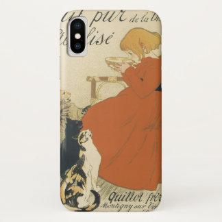 ヴィンテージアールヌーボーの猫にミルクを与えている若い女の子 iPhone X ケース