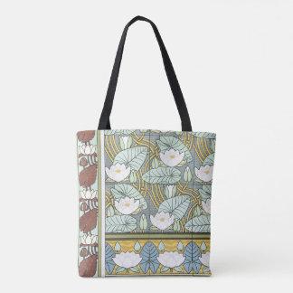 ヴィンテージアールヌーボーの《植物》スイレンの庭の花 トートバッグ