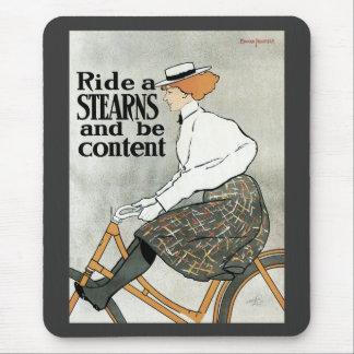 ヴィンテージアールヌーボーは、船尾の自転車のバイクに乗ります マウスパッド