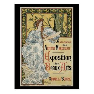 ヴィンテージアールヌーボー、パレットを持つ女性の芸術家 ポストカード