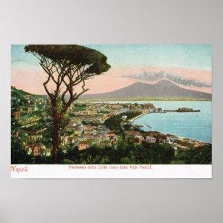 ヴィンテージイタリア、ナポリの湾およびVesuvius ポスター