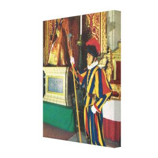 ヴィンテージイタリア、バチカン、ローマのスイス傭兵 キャンバスプリント