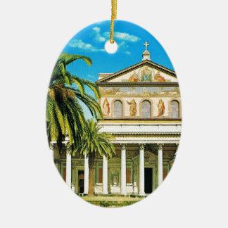 ヴィンテージイタリア、ローマのSパウロのfuoriのlesムーラ セラミックオーナメント