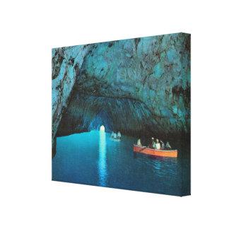 ヴィンテージイタリア、Capri、青い小洞窟の観光客 キャンバスプリント