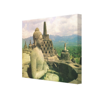 ヴィンテージインドネシア、ジャワのBorobodurの寺院、仏 キャンバスプリント