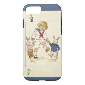 ヴィンテージイースターのバニーウサギとの男の子の踊り iPhone 8/7ケース