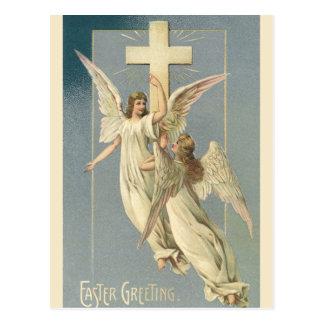 ヴィンテージイースターの十字とのビクトリアンな天使 ポストカード