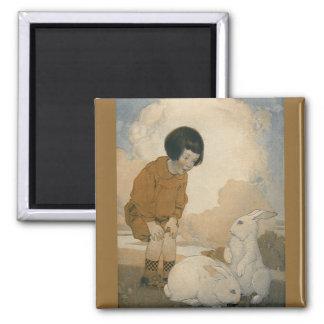 ヴィンテージイースターの白いバニーウサギを遊んでいる子供 マグネット