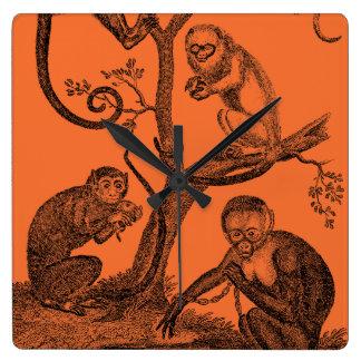 ヴィンテージオレンジ猿のイラストレーション1800's猿 スクエア壁時計
