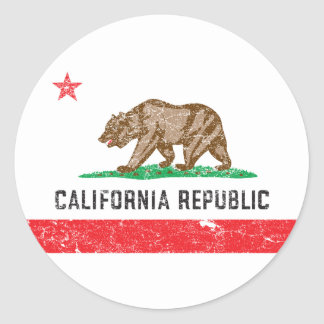 ヴィンテージカリフォルニア旗 ラウンドシール