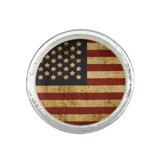 ヴィンテージグランジで愛国心が強い米国の米国旗 指輪