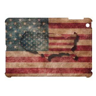 ヴィンテージグランジな米国の星及びストライプな旗および地図 iPad MINI カバー