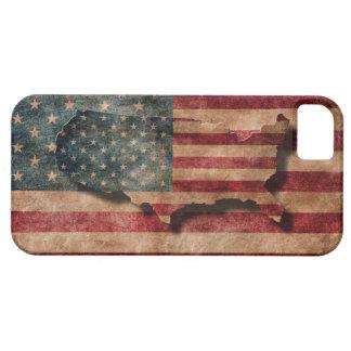 ヴィンテージグランジな米国の星及びストライプな旗および地図 iPhone SE/5/5s ケース