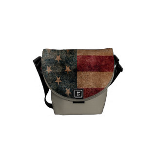 ヴィンテージグランジな米国の星及びストライプな旗 メッセンジャーバッグ