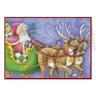 ヴィンテージサンタおよびトナカイのクリスマス カード