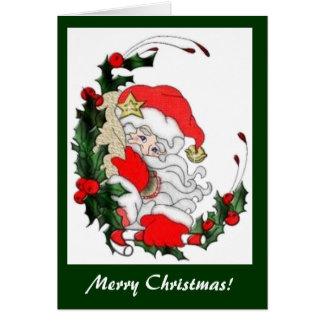 ヴィンテージサンタおよびヒイラギのクリスマスカード カード