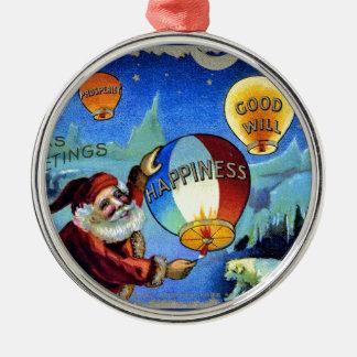 ヴィンテージサンタクリスマスポストカード0025 メタルオーナメント