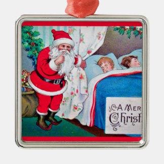 ヴィンテージサンタクリスマスポストカード0026 メタルオーナメント