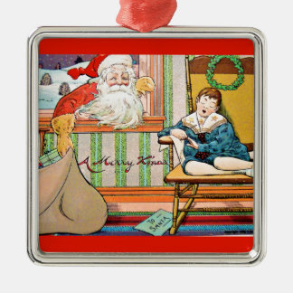 ヴィンテージサンタクリスマスポストカード0042 メタルオーナメント