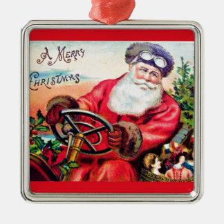 ヴィンテージサンタクリスマスポストカード0125 メタルオーナメント