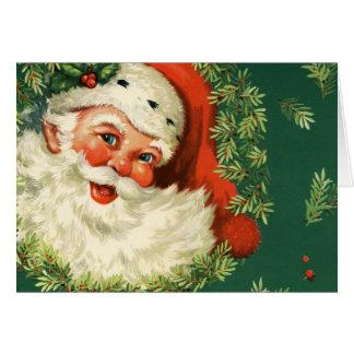 ヴィンテージサンタクロースおよびヒイラギのクリスマスカード カード