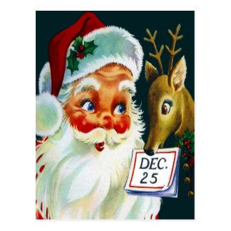 ヴィンテージサンタクロース及びトナカイのクリスマスの郵便はがき ポストカード