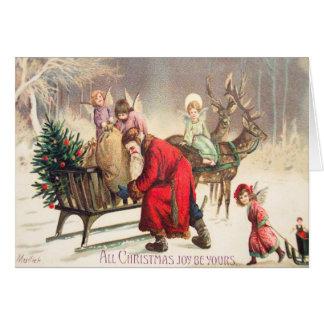 ヴィンテージサンタ及び角度のクリスマスカードはそれをカスタマイズ カード