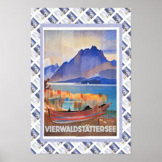 ヴィンテージスイスの鉄道のVierwaldstattersee ポスター