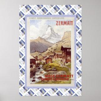 ヴィンテージスイスの鉄道のZermatt ポスター