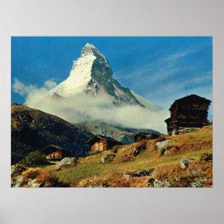ヴィンテージスイス連邦共和国、マッターホルン、Zermatt ポスター